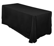 90x132 Black/White Polyester Tablecloth
