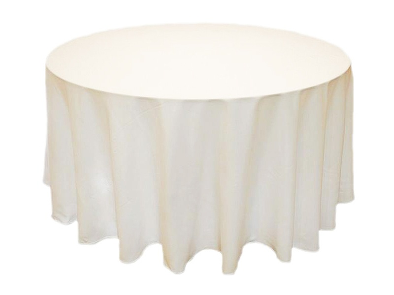 120in Black/White/Ivory Round Polyester Tablecloth