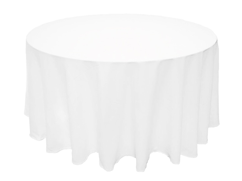 132in Black/White Round Polyester Tablecloth