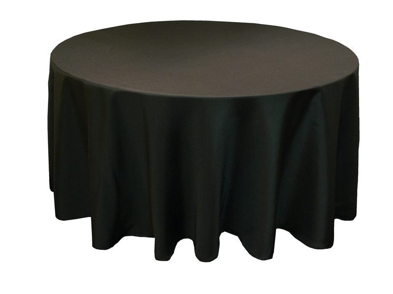 108in Black/White/Ivory Round Polyester Tablecloth